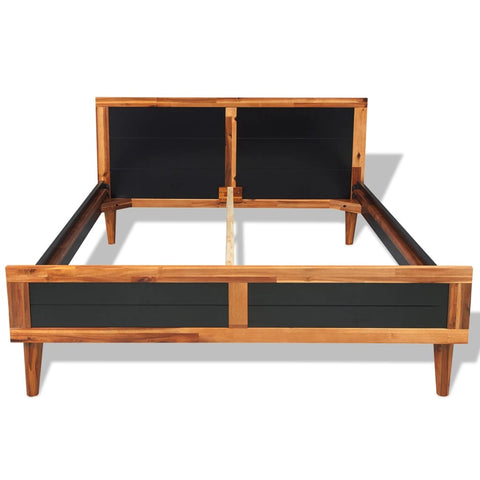 Bed Frame Black Solid Acacia Wood 78.7x55.1