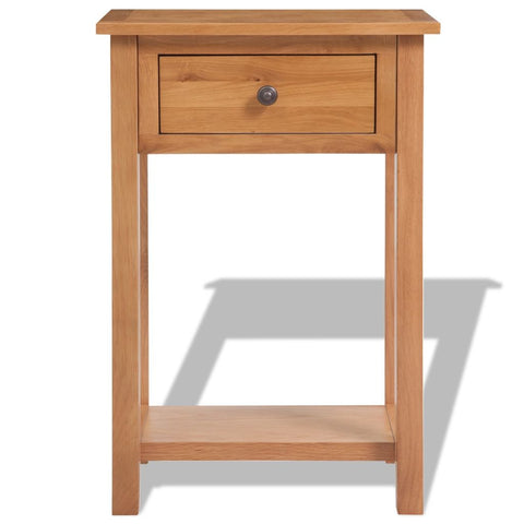 Console Table Solid Oak Wood 19.7x12.6x29.5 Brown