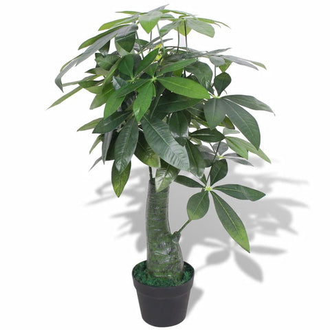 Artificial Fortune Tree Plant with Pot 33.5 Green