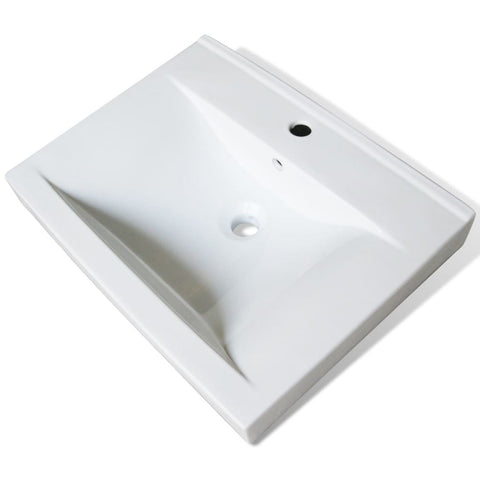 Luxury Ceramic Basin with Faucet Hole 23.6x18.1 White
