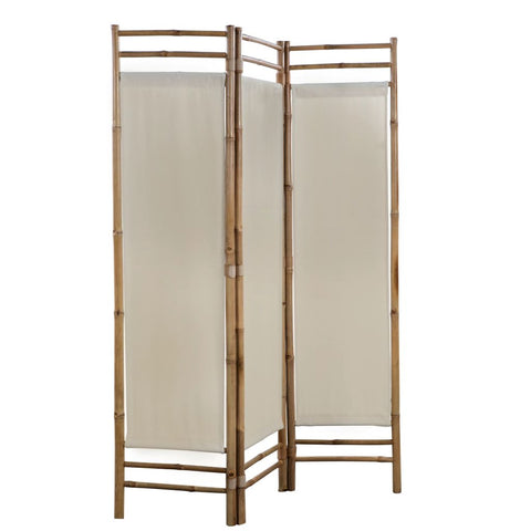 Folding 3-Panel Room Divider Bamboo and Canvas 47.2