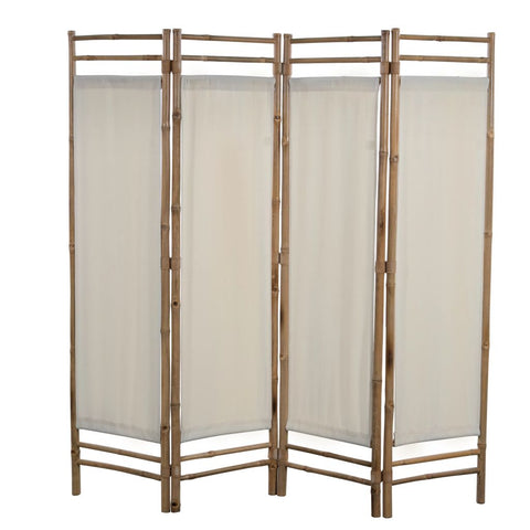 Folding 4-Panel Room Divider Bamboo and Canvas 63