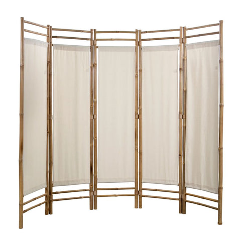 Folding 5-Panel Room Divider Bamboo and Canvas 78.7