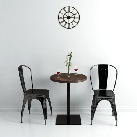 Bistro Table MDF and Steel Round 23.6x29.5 Dark Ash