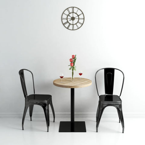 Bistro Table MDF and Steel Round 23.6x29.5 Oak Color