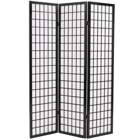 Folding 3-Panel Room Divider Japanese Style 47.2x66.9 Black