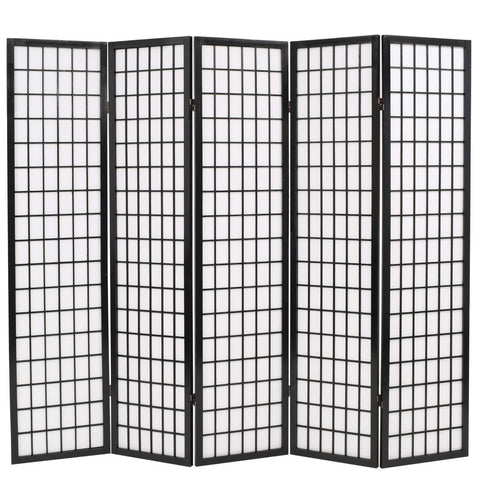 Folding 5-Panel Room Divider Japanese Style 78.7x66.9 Black