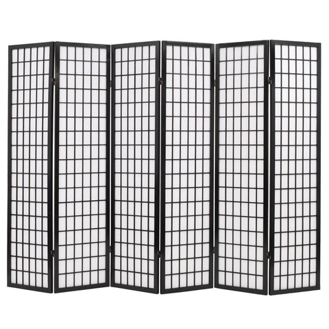 Folding 6-Panel Room Divider Japanese Style 94.5x66.9 Black