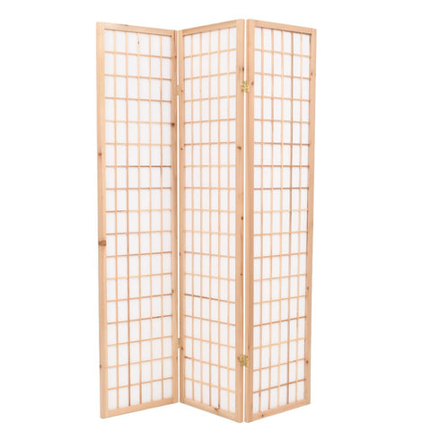 Folding 3-Panel Room Divider Japanese Style 47.2x66.9 Natural