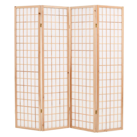 Folding 4-Panel Room Divider Japanese Style 63x66.9 Natural