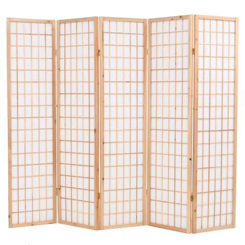 Folding 5-Panel Room Divider Japanese Style 78.7x66.9 Natural