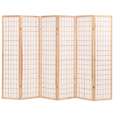Folding 6-Panel Room Divider Japanese Style 94.5x66.9 Natural