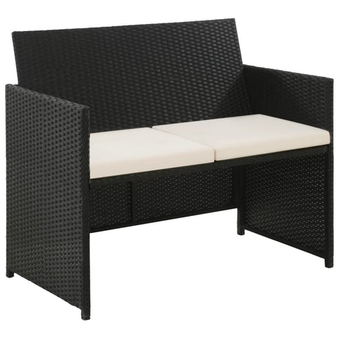 2 Seater Garden Sofa with Cushions Black Poly Rattan