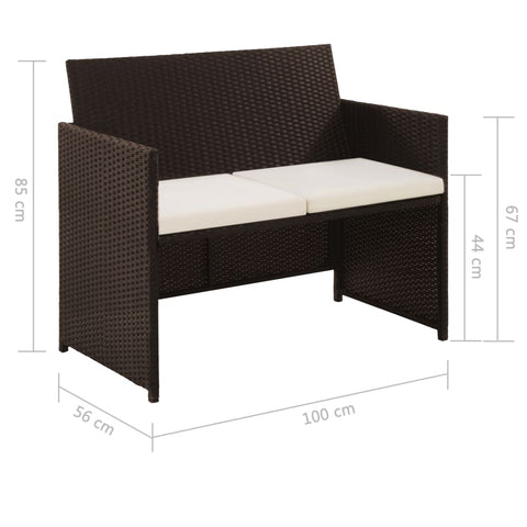 2 Seater Garden Sofa with Cushions Brown Poly Rattan