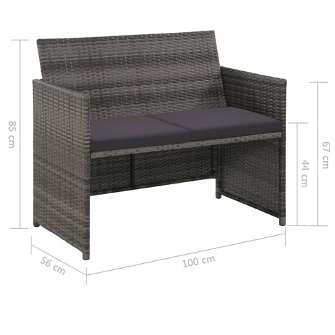 2 Seater Garden Sofa with Cushions Gray Poly Rattan