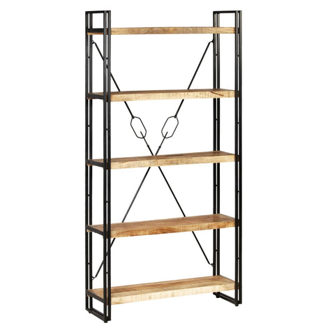 5-Tier Bookcase Solid Mango Wood and Steel 35.4x11.8x70.9