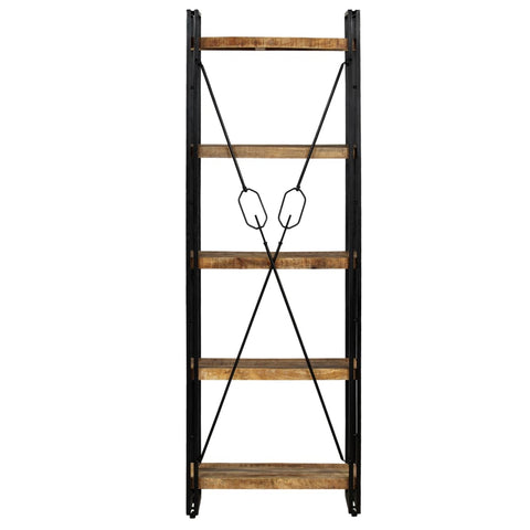 5-Tier Bookcase Solid Mango Wood and Steel 23.6x11.8x70.9