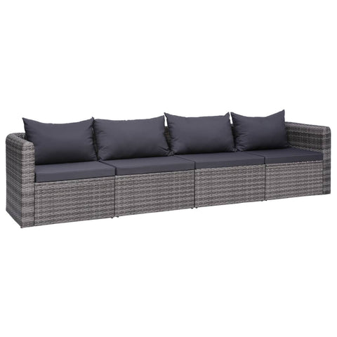 4 Piece Garden Sofa Set with Cushions Gray Poly Rattan