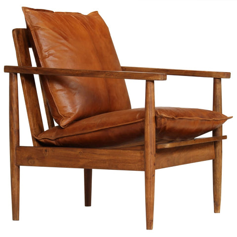 Armchair Brown Real Leather with Acacia Wood