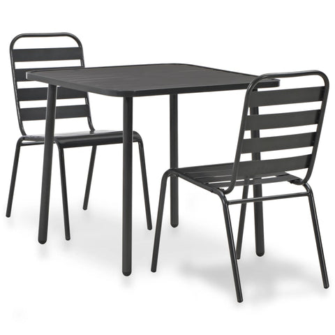 3 Piece Bistro Set Steel Dark Gray