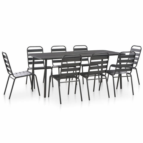 9 Piece Outdoor Dining Set Steel Dark Gray