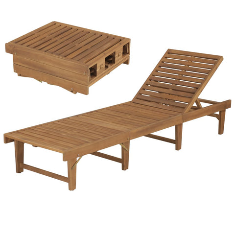 Folding Sun Lounger Solid Acacia Wood
