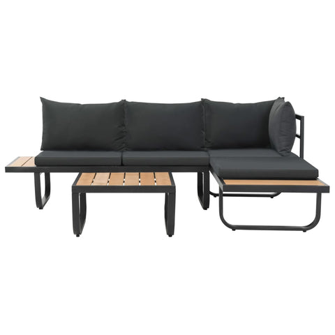 2 Piece Garden Corner Sofa Set with Cushions Aluminium WPC
