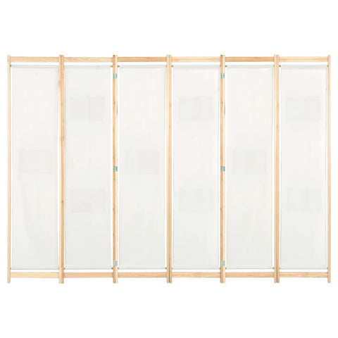 6-Panel Room Divider Cream 94.5x66.9x1.6 Fabric
