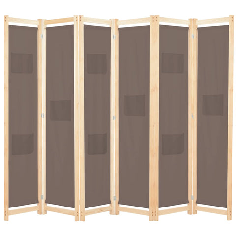 6-Panel Room Divider Brown 94.5x66.9x1.6 Fabric