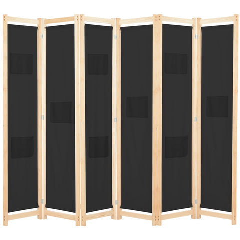6-Panel Room Divider Black 94.5x66.9x1.6 Fabric