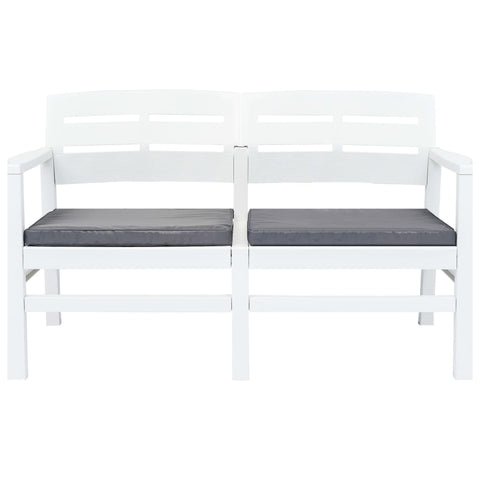 2-Seater Garden Bench with Cushions 52.4 Plastic White