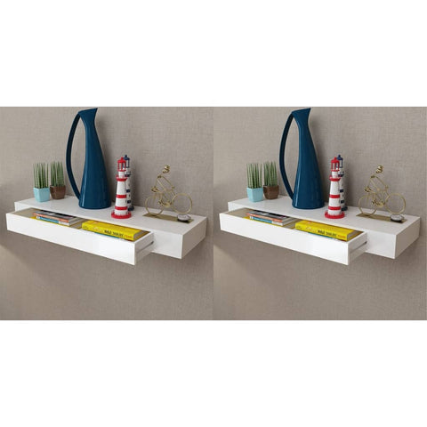 Floating Wall Shelves with Drawers 2 pcs White 31.5