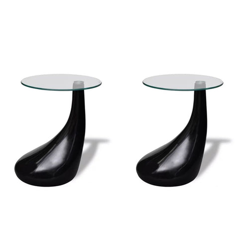 Coffee Tables 2 pcs with Round Glass Top High Gloss Black