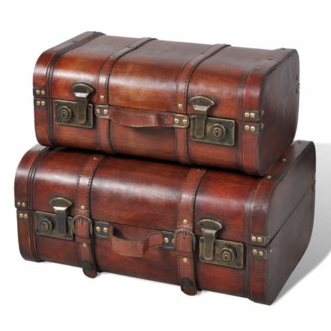 Wooden Treasure Chest 2 pcs Vintage Brown