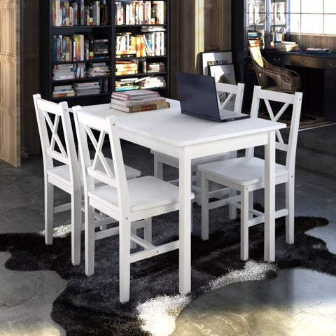 5 Piece Dining Set White