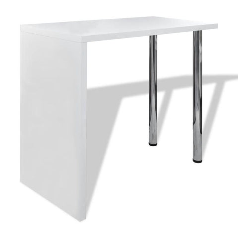 Bar Table MDF with 2 Steel Legs High Gloss White
