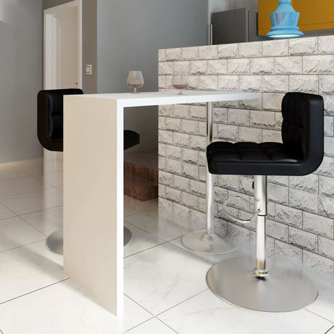 Bar Table MDF with 1 Steel Leg High Gloss White