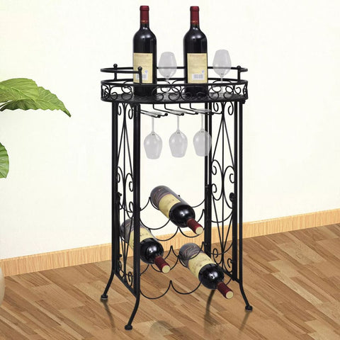 Wine Rack with Glass Holder for 9 Bottles Metal
