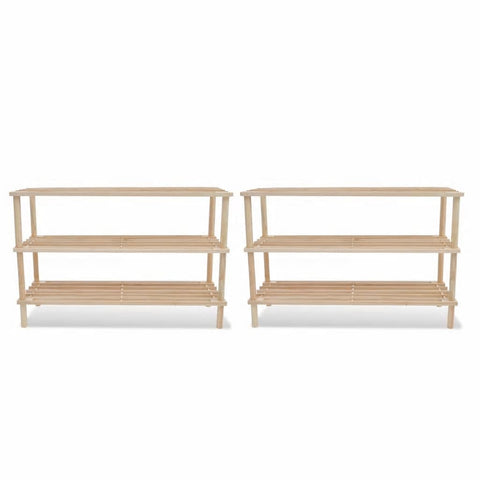 Wooden Shoe Racks 2 pcs 3-Tier Shoe Shelf Storage