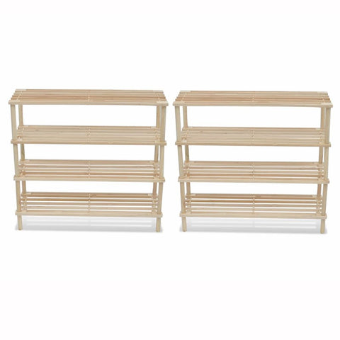 Wooden Shoe Racks 2 pcs 4-Tier Shoe Shelf Storage