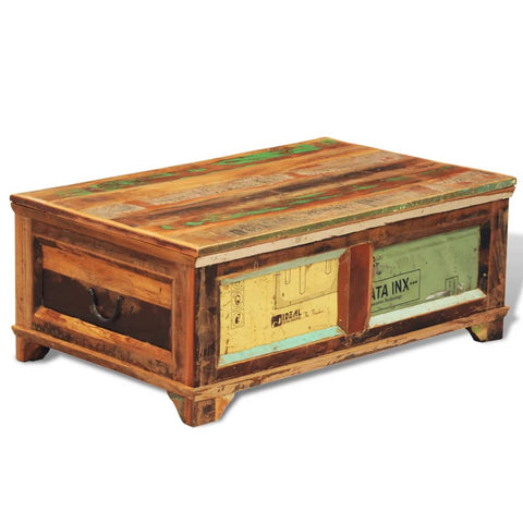 Coffee Table with Storage Vintage Reclaimed Wood