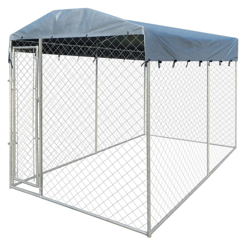 Outdoor Dog Kennel with Canopy Top 13'x6'x7.9'