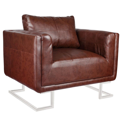 Cube Armchair with Chrome Feet Brown Leather
