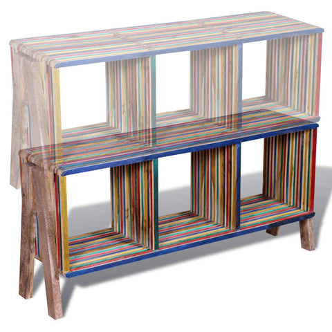 TV Cabinet with 3 Shelves Stackable Reclaimed Teak Colorful