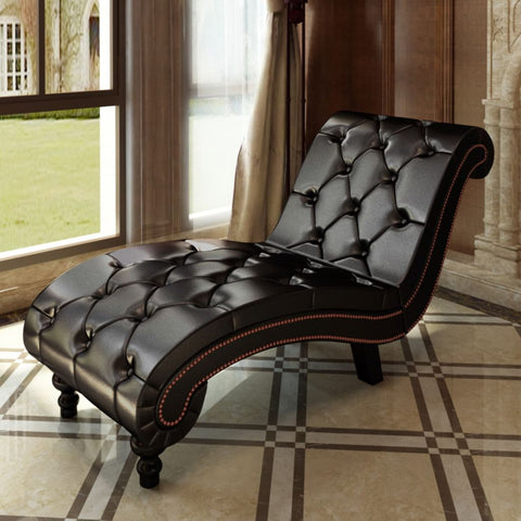 Chaise Longue Brown Faux Leather