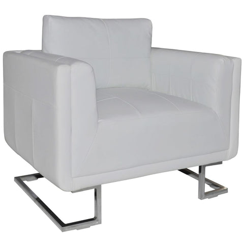 Cube Armchair White Leather