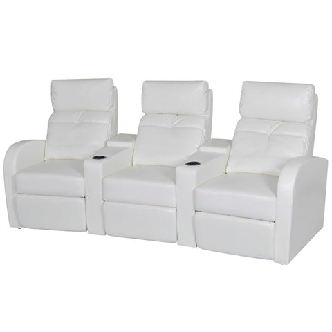 3-Seater Home Theater Recliner Sofa White Faux Leather