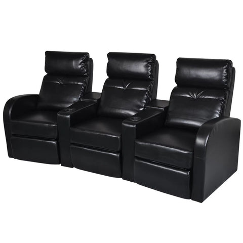 3-Seater Home Theater Recliner Sofa Black Faux Leather