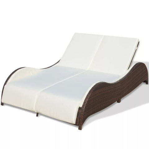 Double Sun Lounger with Cushion Poly Rattan Brown