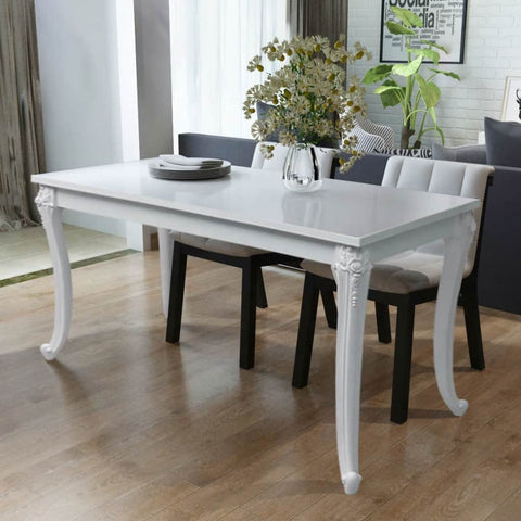 Dining Table 45.7x26x30 High Gloss White